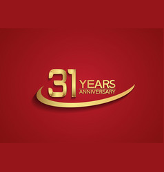 31 years anniversary logo style with swoosh vector