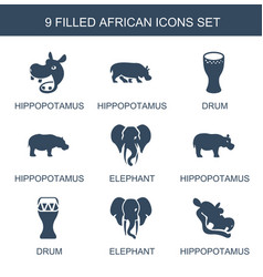 9 african icons vector