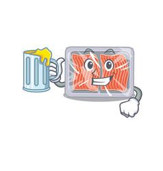 A cartoon concept frozen salmon rise up a vector