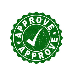 Approve scratched stamp with tick vector