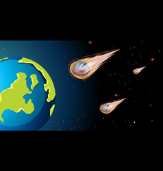 Asteroids space scene background vector