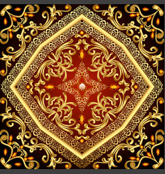 Background with gold floral patterns and precious vector