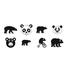 bear icon set simple style vector image