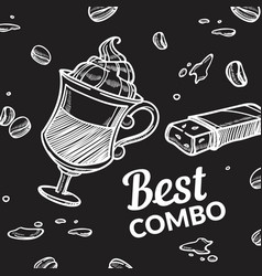 Best combo coffee latter with mousse and cake vector