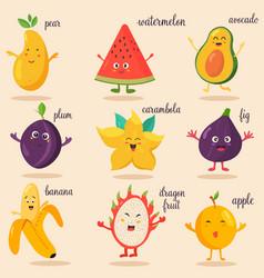 big bright set of funny cartoon fruits vector image