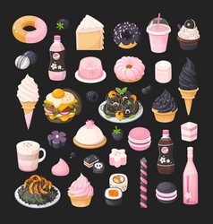 black and pink foods vector image