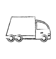 Blurred silhouette cartoon transport truck with vector