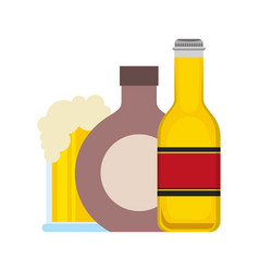 bottle beer wine and glass cup vector image