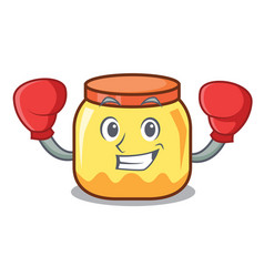 Boxing cream jar character cartoon vector