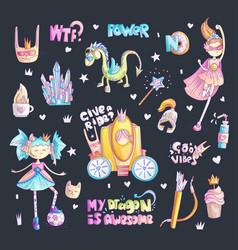 Brave tomboy princess cartoon set princess vector