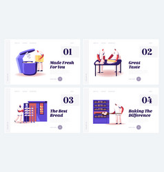 bread cooking on factory website landing page set vector image