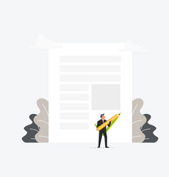 businessman holding pen or pencil and puts his vector image