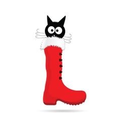 cartoon cat and new year boot color vector image vector image