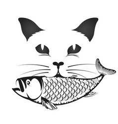 cat with fish in the mouth vector image