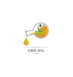 Cbd oil with a lab flask bottle vector
