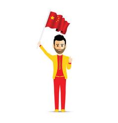China flag waving man vector