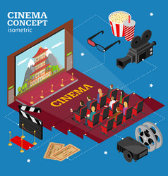 Cinema concept movie interior auditorium isometric vector