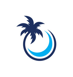 Coconut palm tree with circle vector