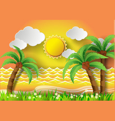 Coconut trees on the beach with sunset vector