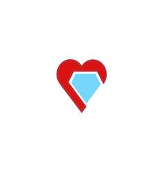 Creative heart diamond logo vector