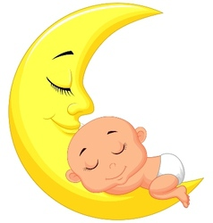 Cute baby cartoon sleeping on the moon vector