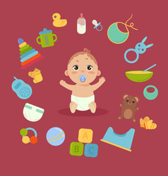 Cute little baby in diaper with newborn essentials vector