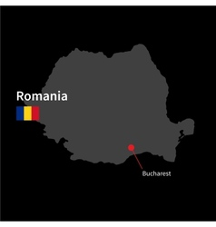 Detailed map of Romania and capital city Bucharest vector