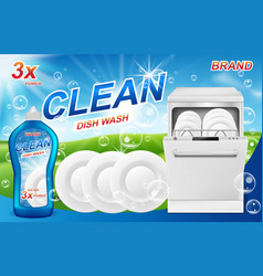 dish wash soap ads realistic plastic packaging vector image