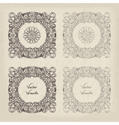 Doodle Retro Floral Wreath Set vector image