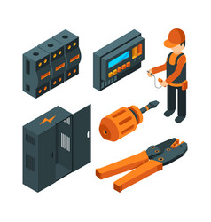electrical systems isometric electrician worker vector image