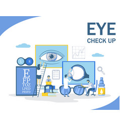 Eye check up flat style design vector