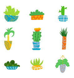 flat house plants in a cartoon style vector image