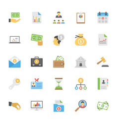 flat icons set of market and economics vector image