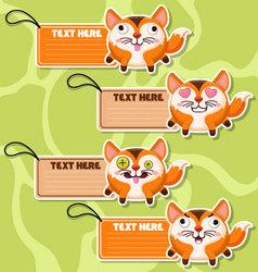Four cute cartoon Foxs stickers vector image