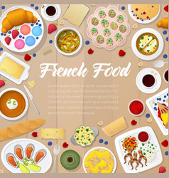 French cuisine menu template with soups vector