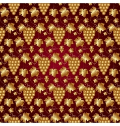 Golden Seamless Pattern on Red with Grapes and vector image