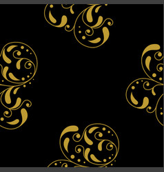 golden vintage damask decor seamless pattern vector image