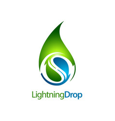 green lightning water drop logo concept design vector image