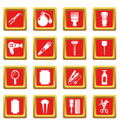 hairdresser icons set red square vector image