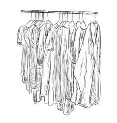 Hand drawn wardrobe Clothes sketch vector image