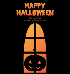 Happy halloween window silhouette pumpkin shadow vector