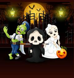 happy kids wearing halloween costume outdoors at n vector image