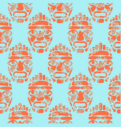 Hawaii tiki tribal mask seamless simple pattern vector