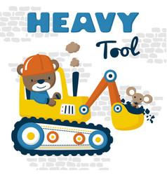 Heavy tool cartoon with cute driver vector