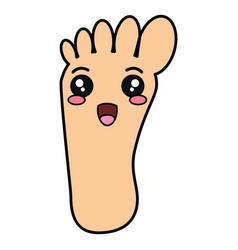 human foot plant kawaii character vector image