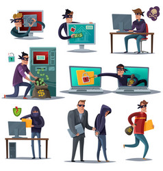 internet hacker security composition set vector image