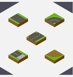 Isometric road set of without strip bitumen turn vector