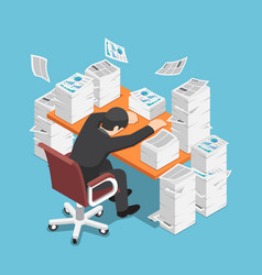 Isometric tired businessman asleep at office desk vector