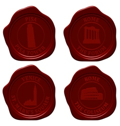 Italy sealing wax set vector