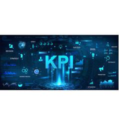 Kpi futuristic banner in hud style vector